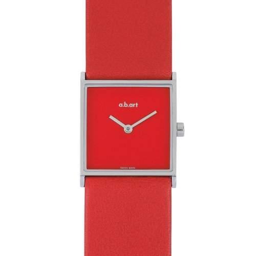 abart Herren Armbanduhr Womenmit rotem Zifferblatt Analog-Anzeige und Lederband ES104