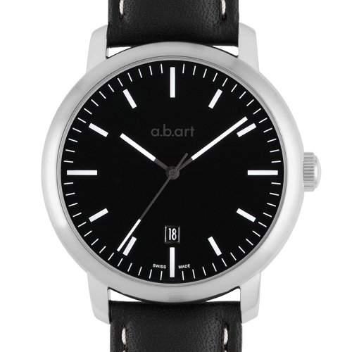 abart MenAutomatik-Uhr mit schwarzem Zifferblatt Analog-Anzeige und schwarzem Lederarmband MA103