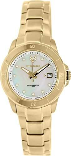 Swiss Eagle-se-6043-22-Battalion Damen-Armbanduhr-Quarz Analog-Ziffernblatt Perlmutt-Armband Stahl vergoldet Gold