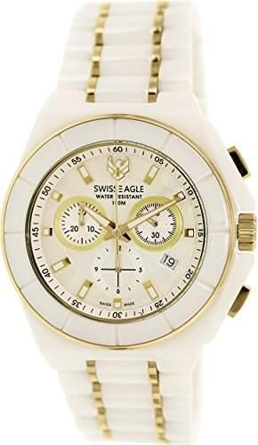 Swiss Eagle-se-9053-22-Polar King-Armbanduhr-Quarz Chronograph-Zifferblatt weiss Armband Keramik weiss