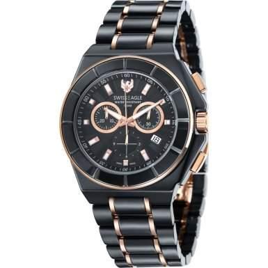Swiss Eagle-se-9053-44-Polar King-Armbanduhr-Quarz Chronograph-Zifferblatt schwarz Armband Keramik Schwarz