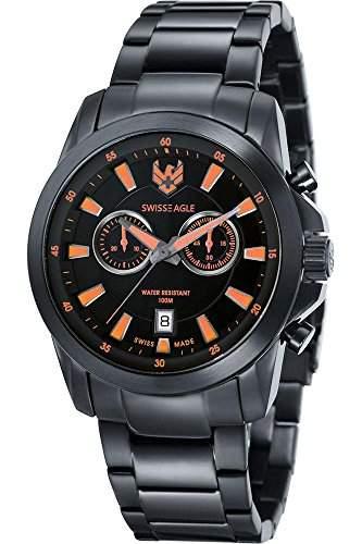 Swiss Eagle-se-9055-99-Zermatt-Armbanduhr-Quarz Chronograph-Zifferblatt schwarz Armband Stahl vergoldet schwarz