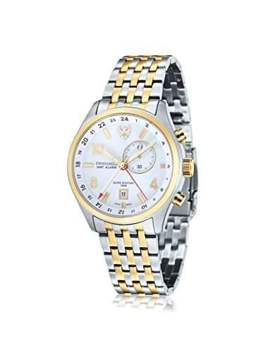 Swiss Eagle-se-9060-44-Mission-Armbanduhr-Quarz Analog-Weisses Ziffernblatt-Armband Stahl zweifarbig