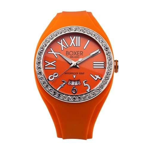Boxer Milano Unisex Armbanduhr Analog Silikon Orange-BOX oder Z 40