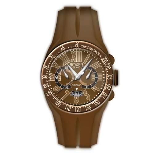 Boxer Milano Unisex Armbanduhr Chronograph Quarz Kautschuk braun BOX 48 CR BG