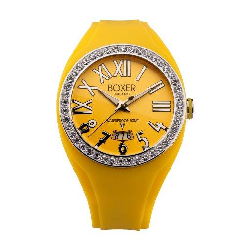 Boxer Milano Unisex Armbanduhr Analog Anzeige und Yellow Rubber Strap YW Z 40