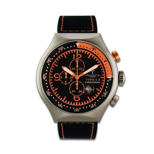Avio Milano Herren-Armbanduhr 50 MM TP ORANGE Chronograph Leder schwarz 50 MM TP ORANGE