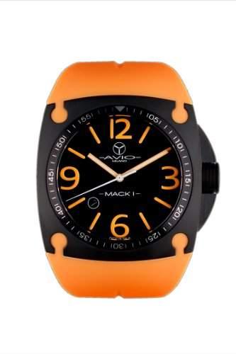 Avio Milano MenHerren Quarzuhr mit schwarzem Zifferblatt Analog-Anzeige und Orange-BK 1002 MK Rubber Strap
