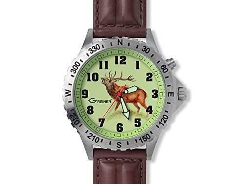 Greiner 1209-TB Armbanduhr Motiv Hirsch