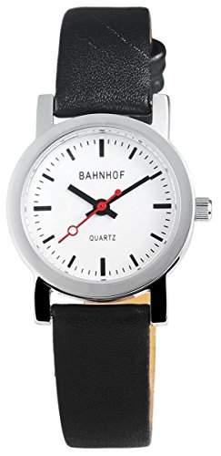 Bahnhof Damenuhr mit Echtlederarmband Weiss Armbanduhr Uhr 100722000001