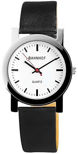 Bahnhof Unisexuhr mit Echtlederarmband Weiss Armbanduhr Uhr 200722000001