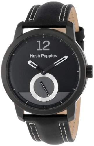 Hush Puppies Freestyle MenAutomatik-Uhr mit schwarzem Zifferblatt Analog-Anzeige und schwarzem Lederarmband HP 2502 3780 m