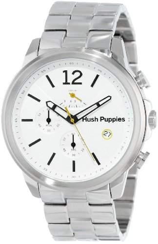 Hush Puppies Orbz MenAutomatik-Uhr mit weissem Zifferblatt Analog-Anzeige und Silber-Edelstahl-Armband HP 11501 6065 m