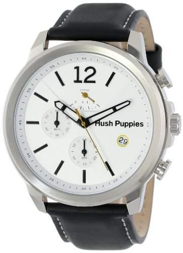 Hush Puppies Orbz MenAutomatik-Uhr mit weissem Zifferblatt Analog-Anzeige und schwarzem Lederarmband HP 22501 6065 m