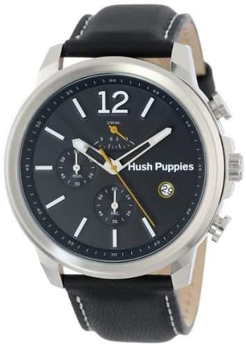 Hush Puppies Orbz MenAutomatik-Uhr mit schwarzem Zifferblatt Analog-Anzeige und schwarzem Lederarmband HP 22502 6065 m