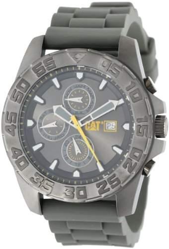 CAT WATCHES Herren-Armbanduhr 44mm Armband Kautschuk Schwarz Gehaeuse Edelstahl Quarz PN15925525