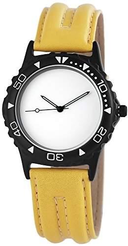 WMC Damenuhr mit Lederimitationarmband Armbanduhr Uhr Weiss 8918