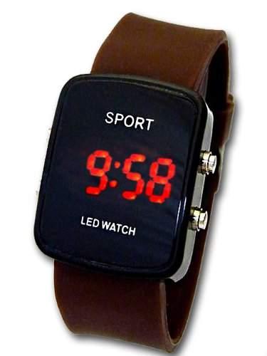 Sportliche LED Uhr mit Kautschuk Armband G-41 Unisex Braun