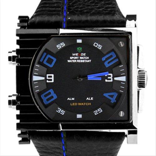 Weide Blau Buchstaben Dual Time Display Zifferblatt Digital Quarz Lederband Armbanduhr WH2301BBLU
