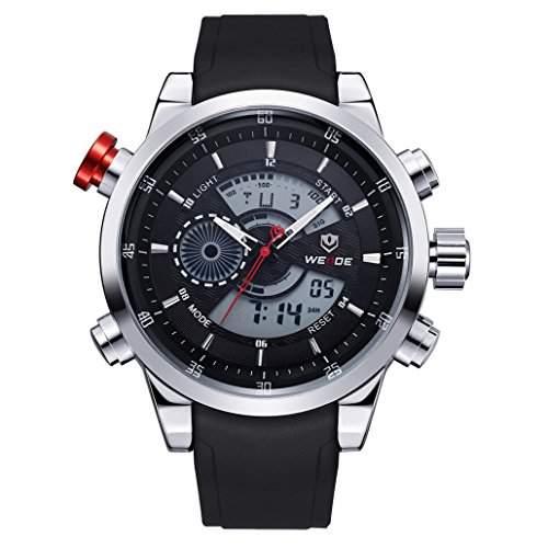 Herren Freizeit Sport Armbanduhr Quartz Digital LED Hintergrundbeleuchtung 30M wasserdicht WH-3401#2
