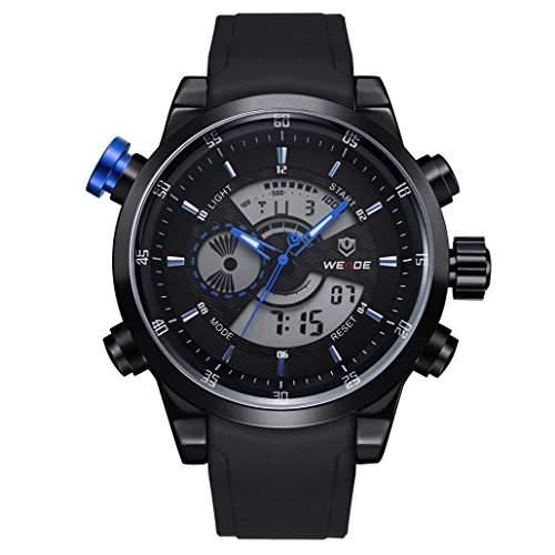 Herren Freizeit Sport Armbanduhr Quartz Digital LED Hintergrundbeleuchtung 30M wasserdicht WH-3401#6