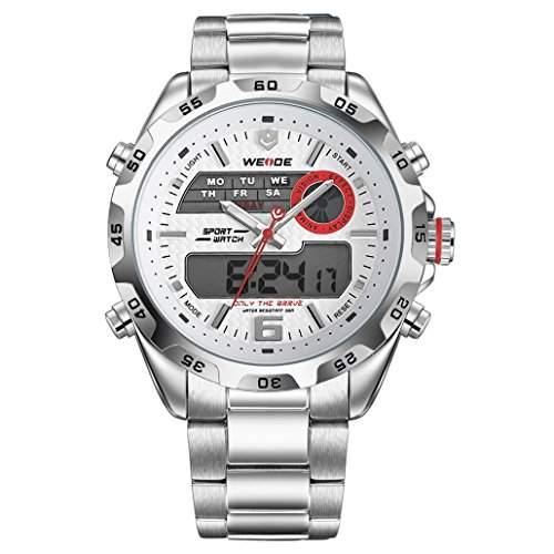 Herren Edelstahlband Sport Armbanduhr Japanisches urspruengliche Uhrwerk Analog-Digital LED leuchtende Digitalanzeige 30M wasserdicht WH-3403#1