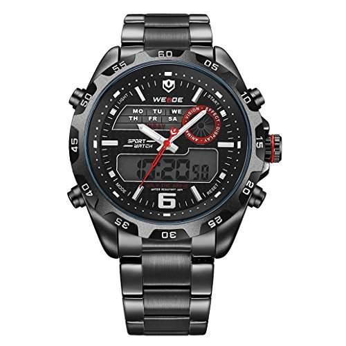 Herren Edelstahlband Sport Armbanduhr Japanisches urspruengliche Uhrwerk Analog-Digital LED leuchtende Digitalanzeige 30M wasserdicht WH-3403#2