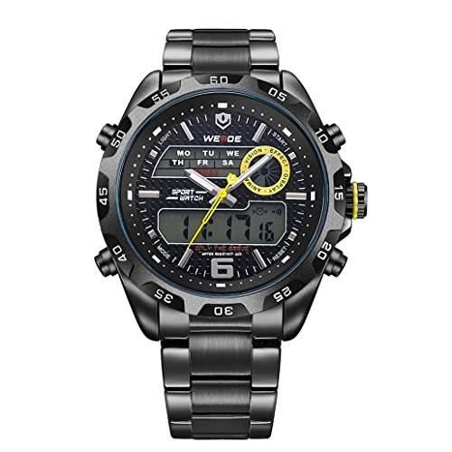 Herren Edelstahlband Sport Armbanduhr Japanisches urspruengliche Uhrwerk Analog-Digital LED leuchtende Digitalanzeige 30M wasserdicht WH-3403#3