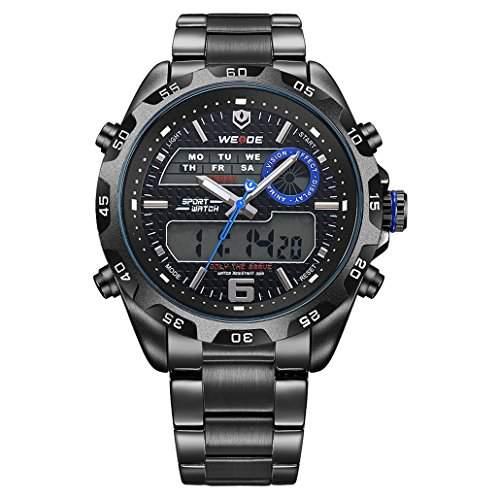 Herren Edelstahlband Sport Armbanduhr Japanisches urspruengliche Uhrwerk Analog-Digital LED leuchtende Digitalanzeige 30M wasserdicht WH-3403#4