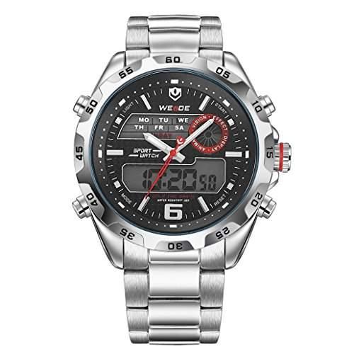 Herren Edelstahlband Sport Armbanduhr Japanisches urspruengliche Uhrwerk Analog-Digital LED leuchtende Digitalanzeige 30M wasserdicht WH-3403#5