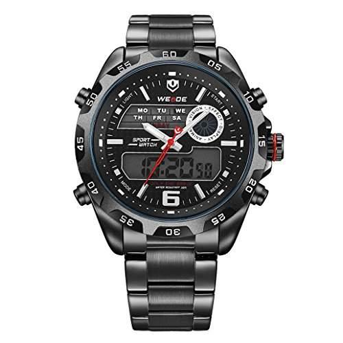 Herren Edelstahlband Sport Armbanduhr Japanisches urspruengliche Uhrwerk Analog-Digital LED leuchtende Digitalanzeige 30M wasserdicht WH-3403#6