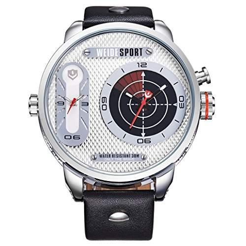 Herren Lederband Sport Armbanduhr Quarz Analog Dual-Anzeigen 30M wasserdicht WH-3409#1