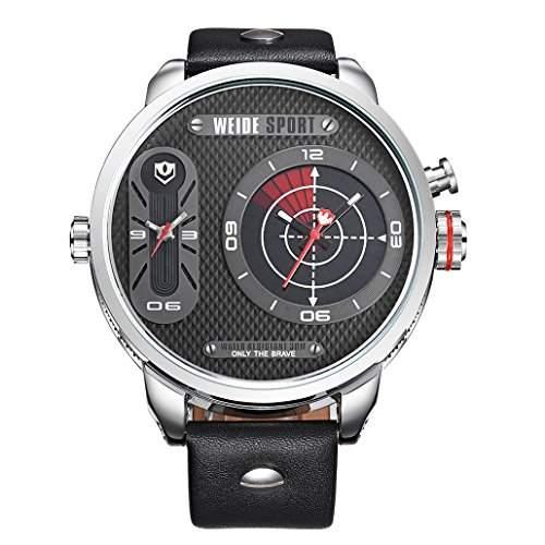 Herren Lederband Sport Armbanduhr Quarz Analog Dual-Anzeigen 30M wasserdicht WH-3409#2