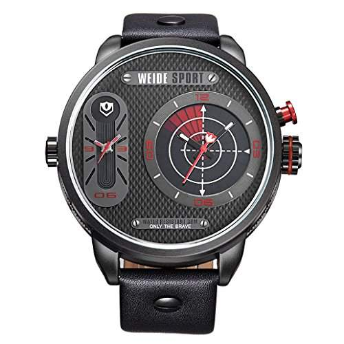 Herren Lederband Sport Armbanduhr Quarz Analog Dual-Anzeigen 30M wasserdicht WH-3409#3