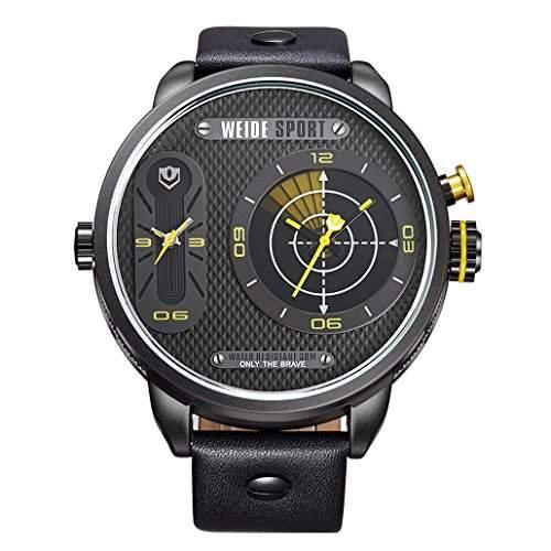 Herren Lederband Sport Armbanduhr Quarz Analog Dual-Anzeigen 30M wasserdicht WH-3409#4