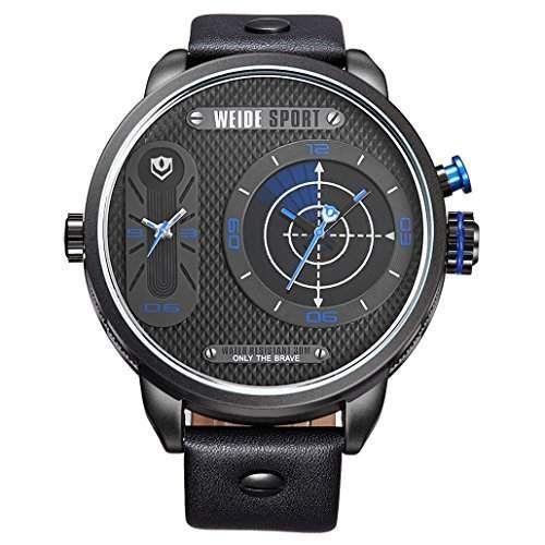 Herren Lederband Sport Armbanduhr Quarz Analog Dual-Anzeigen 30M wasserdicht WH-3409#5