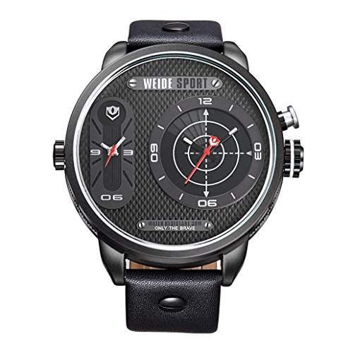 Herren Lederband Sport Armbanduhr Quarz Analog Dual-Anzeigen 30M wasserdicht WH-3409#6