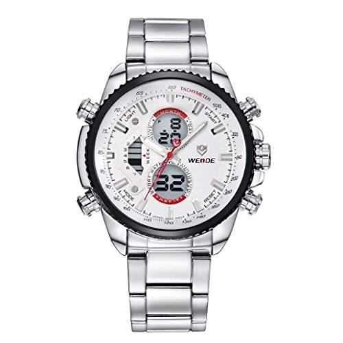 Herren Edelstahlband Sport Armbanduhr Analog Japanisches urspruengliche Quartz LCD Digital Uhrwerk 30M wasserdicht WH-3410#1