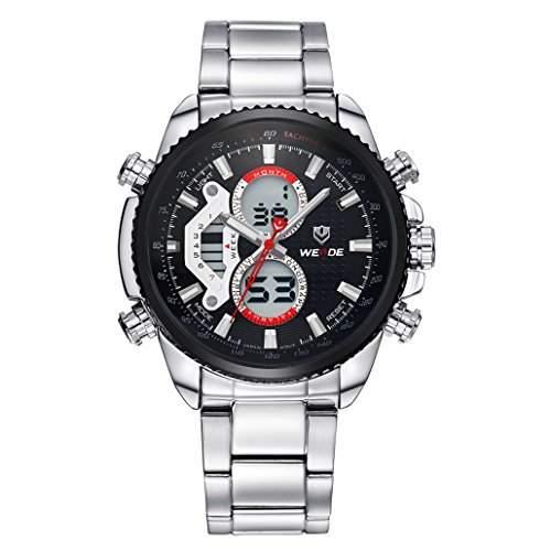 Herren Edelstahlband Sport Armbanduhr Analog Japanisches urspruengliche Quartz LCD Digital Uhrwerk 30M wasserdicht WH-3410#2
