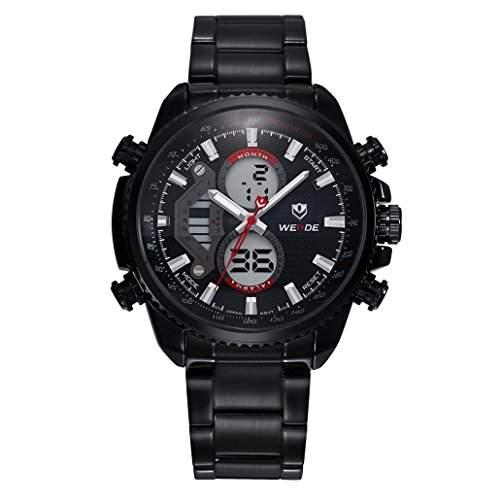 Herren Edelstahlband Sport Armbanduhr Analog Japanisches urspruengliche Quartz LCD Digital Uhrwerk 30M wasserdicht WH-3410#3