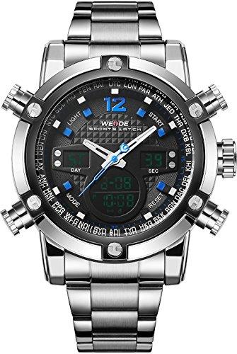 Weide Herren Sport Military Analog Digital Quarz Edelstahl Armbanduhr mit Dual Time Auto Datum blau