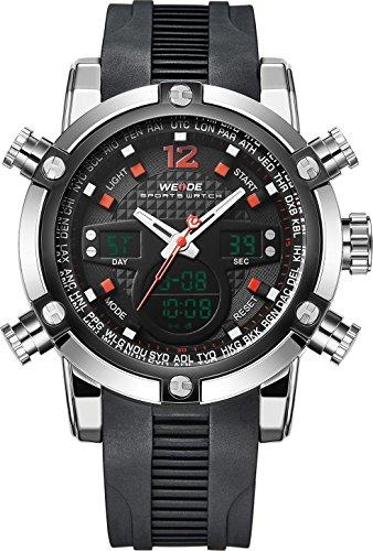 Weide Herren Quarz Uhr Sport Militaer Stil Analog und Digitalanzeige Dual Time Gummiband mit Auto Datumsanzeige Rot