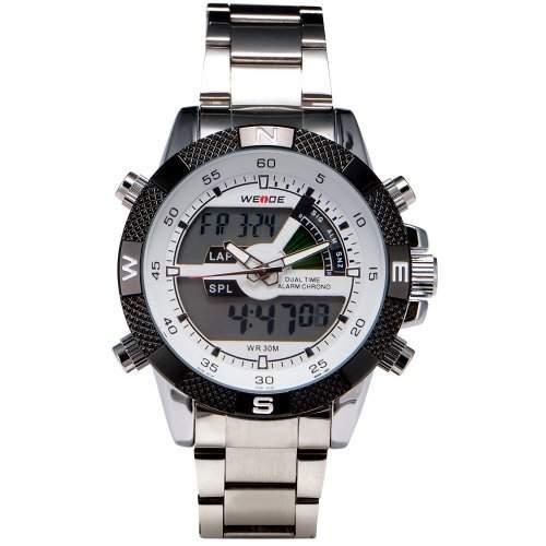 WEIDE Herren-Armbanduhr analog-digital edelstahl Silber WA166
