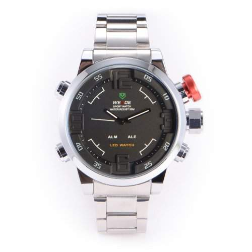 WEIDE Herren-Armbanduhr analog-digital edelstahl Silber WA174