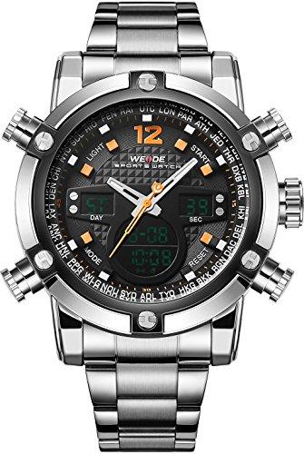 WEIDE Herren Sport Military Analog Digital Quarz Edelstahl Armbanduhr mit Dual Time Auto Datum orange