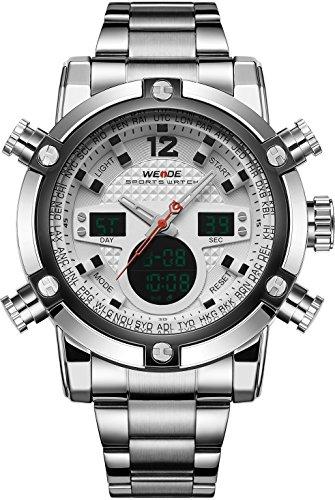 WEIDE Herren Sport Military Analog Digital Quarz Edelstahl Armbanduhr mit Dual Time Auto Datum weiss