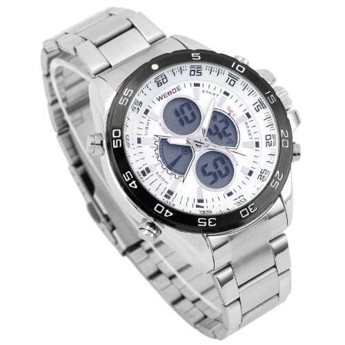 WEIDE Herren-Armbanduhr analog-digital edelstahl Silber WH-1103-2