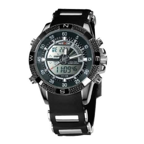 Weide Mens Schwarz Anzeige zweier Zeitzonen Alarm Sport Armbanduhr WH1104 - RBLK