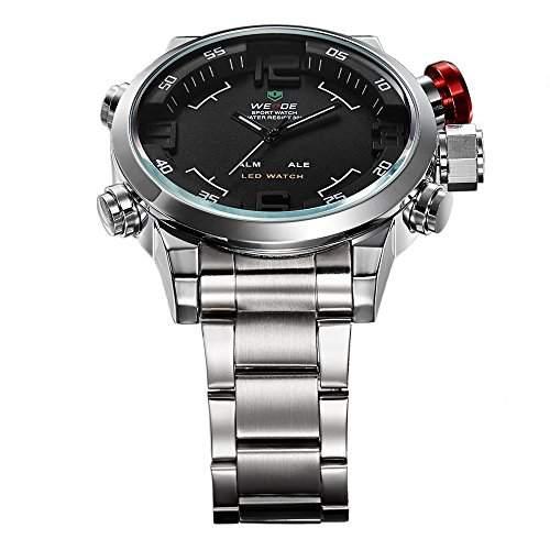 Weide Herrenarmbanduhr, duale Zeitanzeige, Armbanduhr WH2309B, Edelstahl, Schwarz