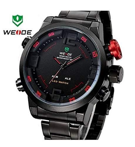 Weide Herrenarmbanduhr, duale Zeitanzeige, Armbanduhr WH2309BR, Thema Rot  Schwarz